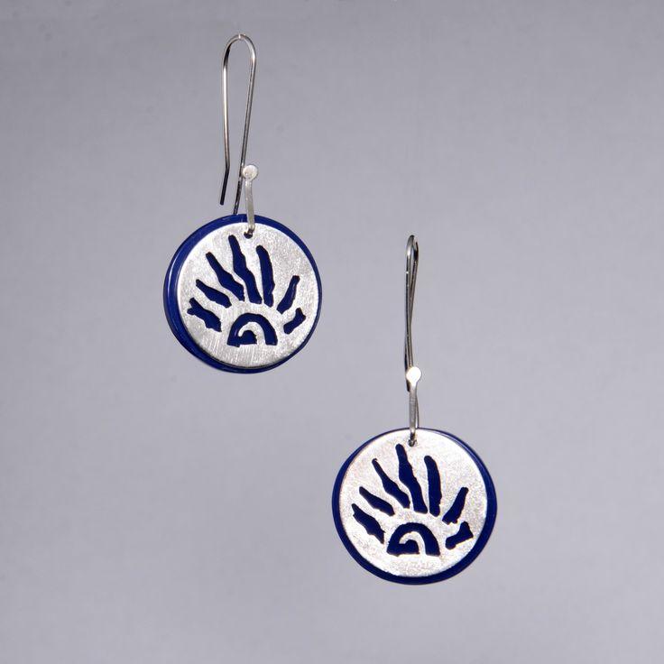 Aros de plata y acrílico | Joyas hechas a mano/ Hand made jewelry | www.facebook.com/DeDiosas