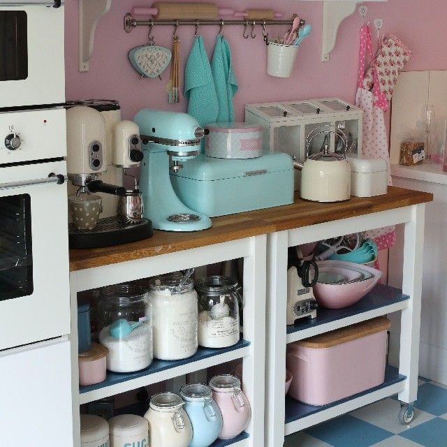 I Would Love To Do This With The Powder Blue And Maybe Bronzes Browns Smeg Kitchenkitchen Decordiner