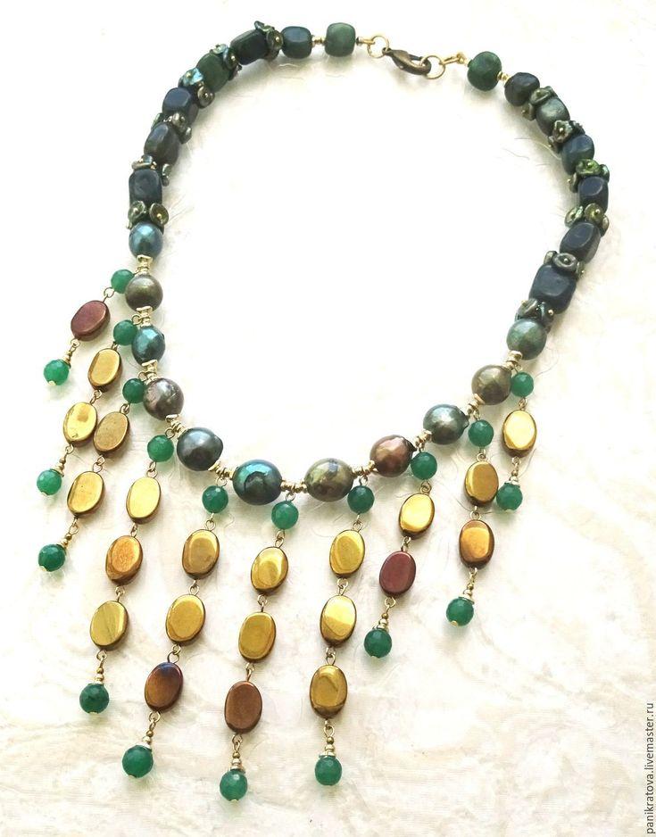 """Gorgeous Necklace / Колье """"Царица Савская"""" (жемчуг, нефрит, гематит, кварц) - тёмно-зелёный, темное золото"""