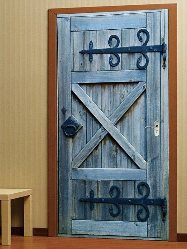 Vintage Wooden Door Print Door Decals Multicolor 38 5