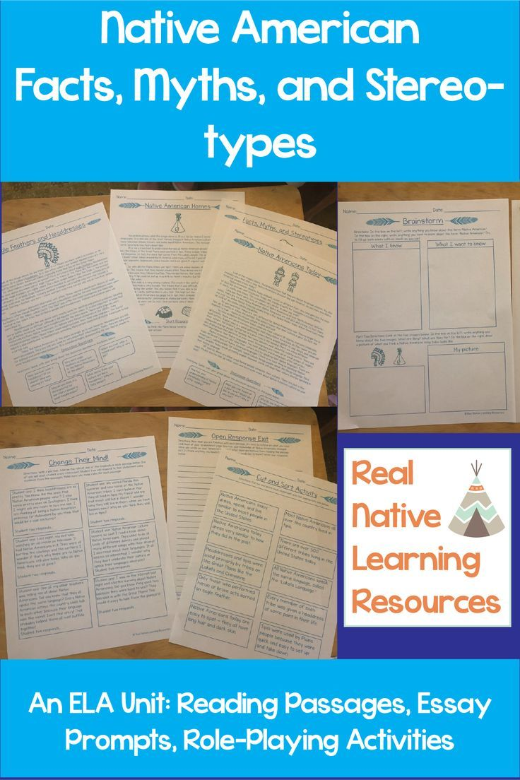 Facts, Myths, and Stereotypes - Native American ELA Unit | Best of ...