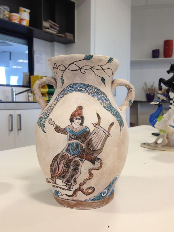My intrepretation of Cyprus Mosaics - hand built vase