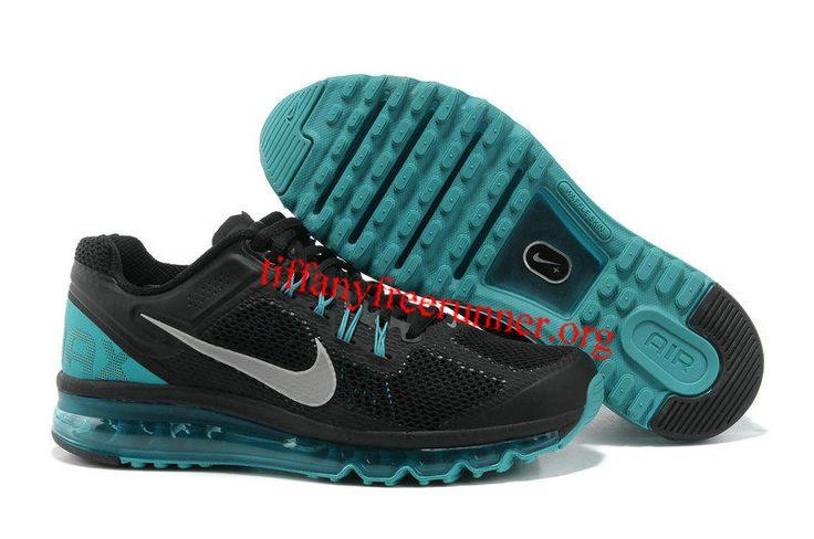 Mens Nike Air Max 2013 Black Blue Glow Silver Shoes