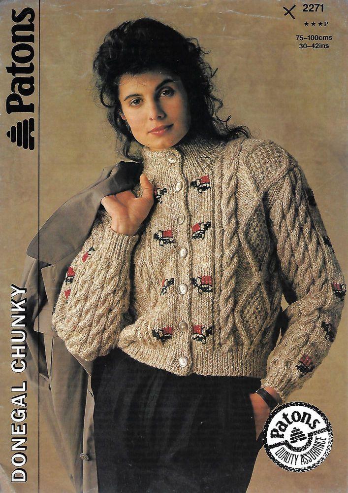 Women's Cable Aran Cardigan Patons 2271 knitting pattern chunky weight yarn  #Patons