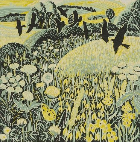 """Harvest time"" by Annie Soudain (linocut)"