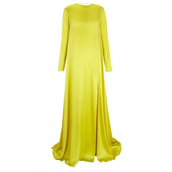 The 2nd Skin Co Open-back Yellow Satin Dress (€2.385) ❤ liked on Polyvore featuring dresses, yellow, night out dresses, satin party dress, lace up front dress, floor length dresses and satin cocktail dress
