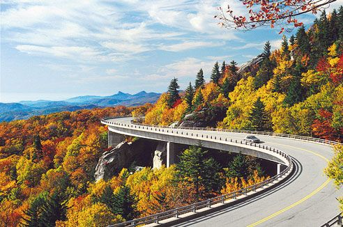 The Linn Cove Viaduct winds past the slopes of Grandfather Mountain.- Blue Ridge Parkway