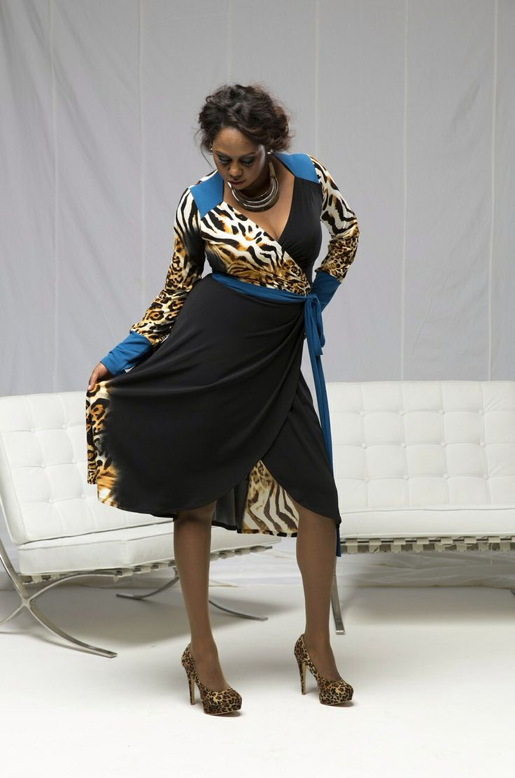 Maurial is wearing the 'Marguerite' wrap dress in 'leopard/azure'. Purchase: http://sprinkleemporium.bigcartel.com/product/marguerite-wrap-dress
