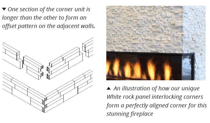 Norstone's unique corner joint system, requiring no cutting or measuring, all made to fit easily together, halving install times when compared to other stone cladding products