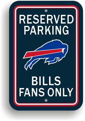 """Show your Bills team spirit proudly with this 12"""" X 18"""" Buffalo Bills Reserved Parking Sign. Each 12in x 18in parking sign is made of durable styrene. The NFL officially licensed parking sign is decor"""