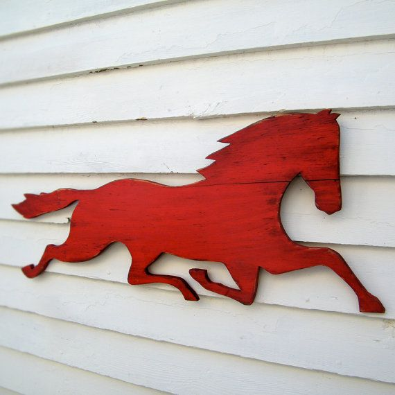 Wooden Horse Sign Barnwood Red Distressed Large by HavenAmerica