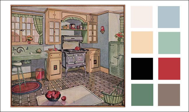 Vintage Kitchen Color Scheme - 1920s - 1928 Blue, Corn Silk, & Jadite Green - Antique Home & Style