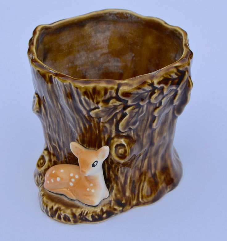 1950s Ceramic SylvaC Vase Fawn in Tree Vintage Vase Vintage Home Decor Vintage Planter SylvaC Planter English Planter Catalogue 4287 by BiminiCricket on Etsy