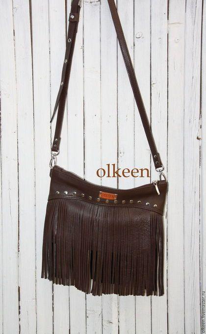 Женские сумки ручной работы. Rumba кожаная сумка с бахромой. OLKEEN…