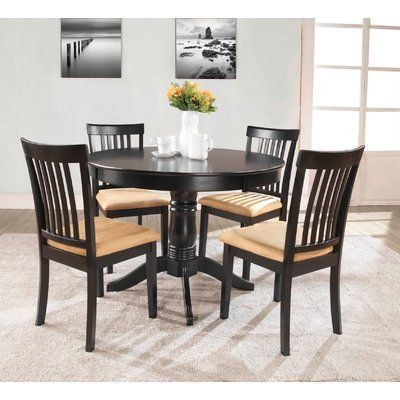 Andover Mills Oneill 5 Piece Upholstered Dining Set Round Dining Table Sets Dining Room Sets Farmhouse Dining Rooms Decor