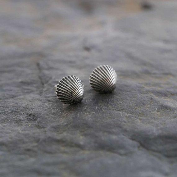 Silver Cockle Shell Stud Earrings   PMC by WildSilverJewellery
