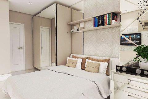 Este é um apartamento de 48 m² em Maceió (AL). Com uma paleta de cores claras, a sala de jantar/estar é integrada à cozinha, além de dois quartos e um banheiro. O projeto é do arquiteto Josival Alves da S. Junior e da designer de interiores Julia Barros.