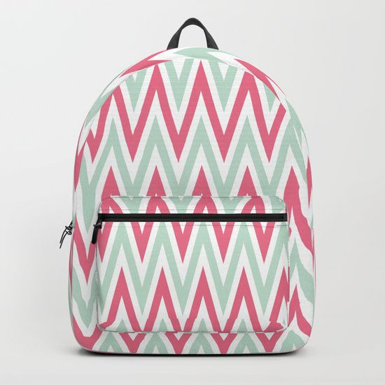 "Our Backpacks are crafted with spun poly fabric for durability and high print quality. Thoughtful details include double zipper enclosures, padded nylon back and bottom, interior laptop pocket (fits up to 15""), adjustable shoulder straps and front pocket for accessories. Dry clean or spot clean only. One unisex size: 17.75""(H) x 12.25""(W) x 5.75""(D). Back to school backpack#society6 #backpack #backtoschool #school #loveschool #chvron #zigzag #abstract"