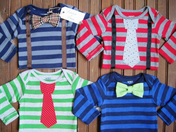 4 Pack Striped Bow Tie & Necktie Onesies, Twin Gift Set, Twin Onesies, Newborn Twin Onesies, Baby Gift Set, Baby Suspenders, Bow Tie Onesie. $52.00, via Etsy.