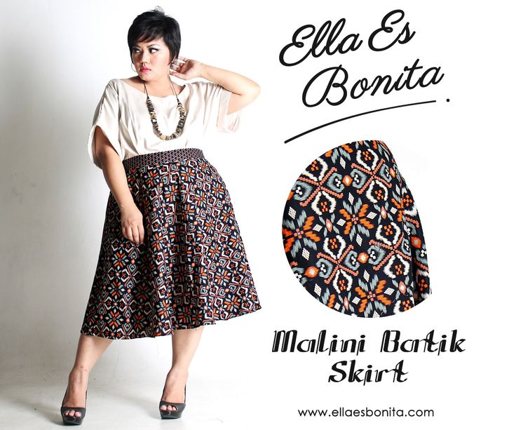 Malini Batik Skirt - This batik skirt features high quality batik cotton and songket for midi skirt which specially designed for sophisticated curvy women originally made by Indonesian Designer & Local Brand: Ella Es Bonita. Available at www.ellaesbonita.com