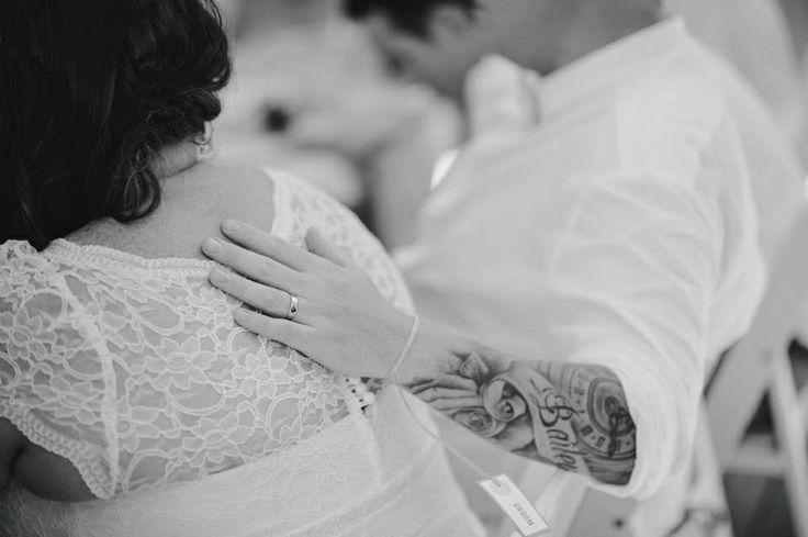 Husband and wife, lace wedding dress, byron bay wedding, broken head beach, pavilion 2, David Moore Photography