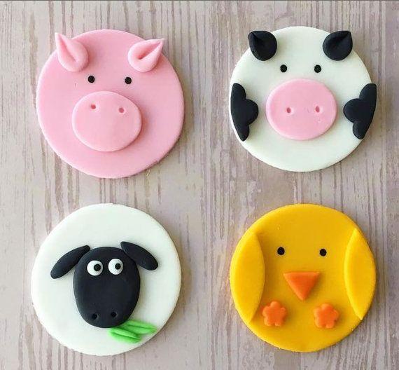 12 Fondant Linda granja animales Cupcake Toppers