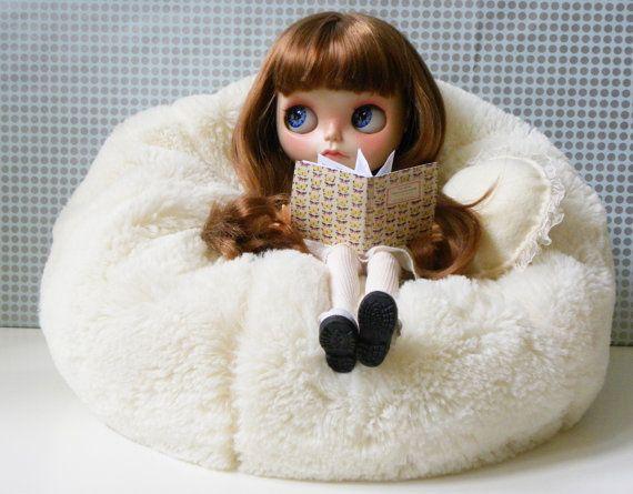 Blythe Bean Bag / Faux fur Creamy White / by AltheasDollHouse, $42.00