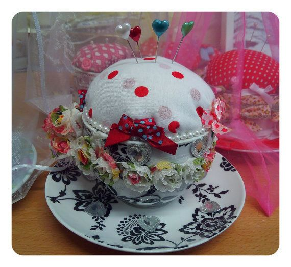 Shabby Chic Pincushion ,Ebellished With Roses Ribbon, Pins, Red Black £10.95