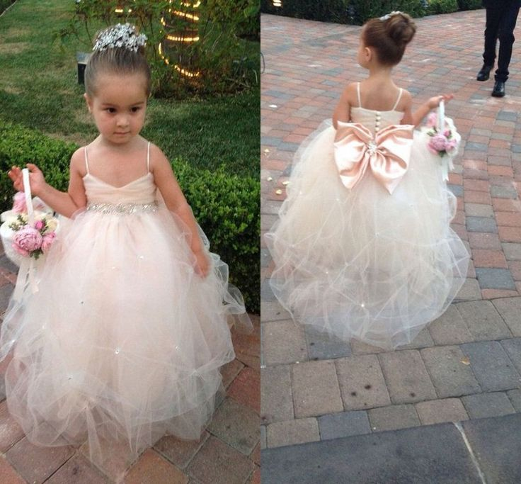 Lovely Beaded Bowknot Prom Formal Party Flower Girl Dress Wedding Baby Gown