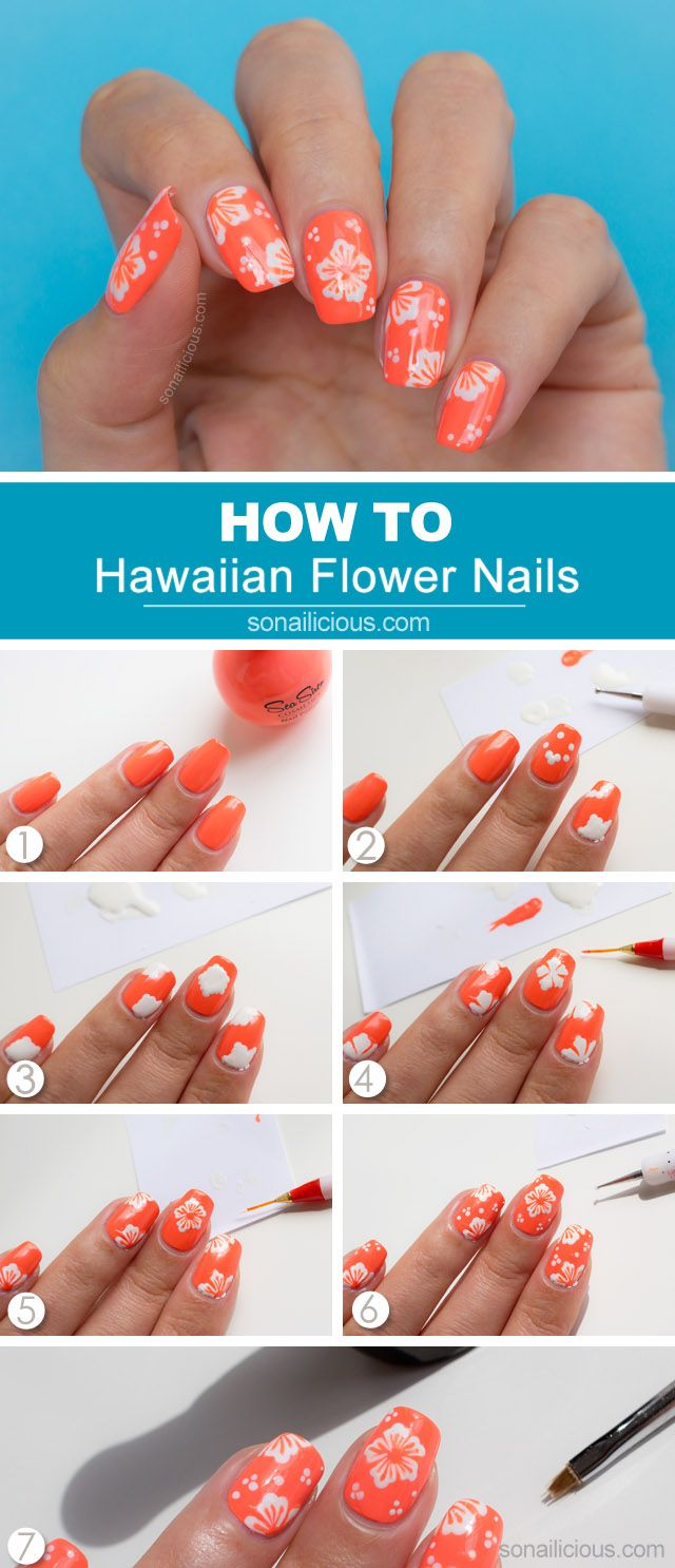 Hawaii Summer nail art tutorial: http://sonailicious.com/hawaiian-flower-nail-art-tutorial/