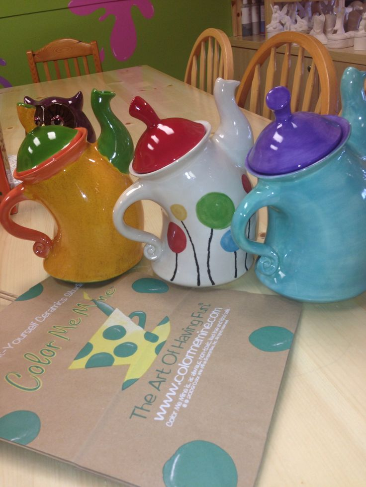 Dancing teapots at color me mine red deer