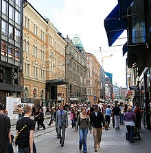 Aleksanterinkatu, a commercial street in Helsinki. 2 H's right across the street from each other. <3