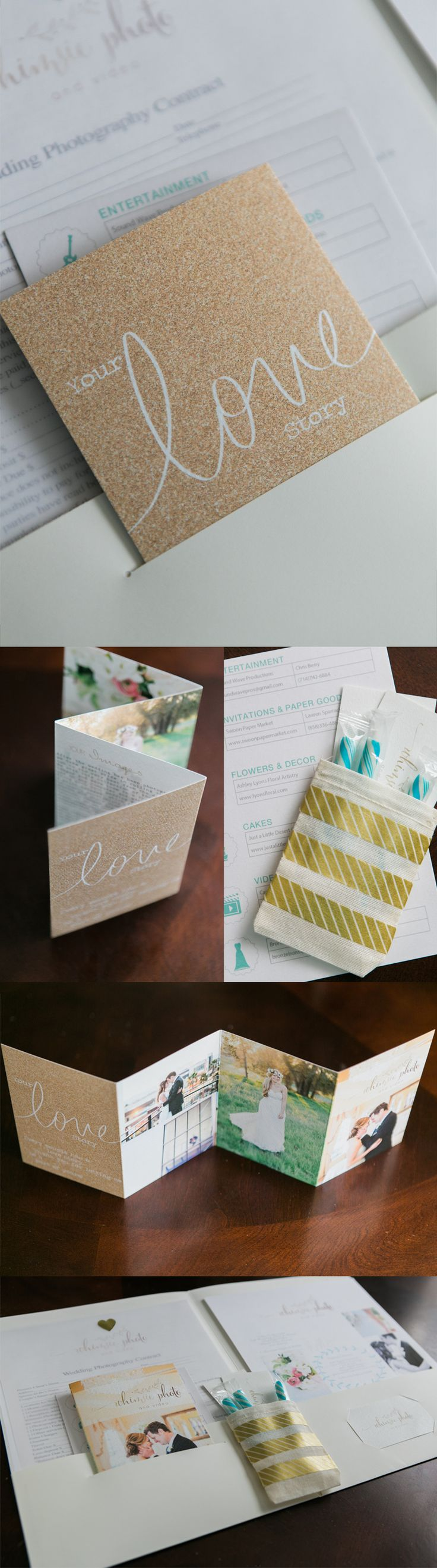 High end wedding photography wedding packet design with candy