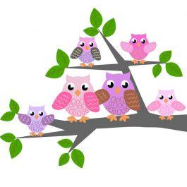 DecoDeco muursticker 'Uiltjesfamilie op tak' in roze of blauw Large, uilen - Home AltijdLeuk. Deze lieve muursticker 'Uiltjesfamilie op tak' van het Nederlandse merk DecoDeco is bestemd voor kinderkamer. Van deze sticker is een blauwe variant voor jongens en een roze voor meisjes. Large is 100 x 85 cm.