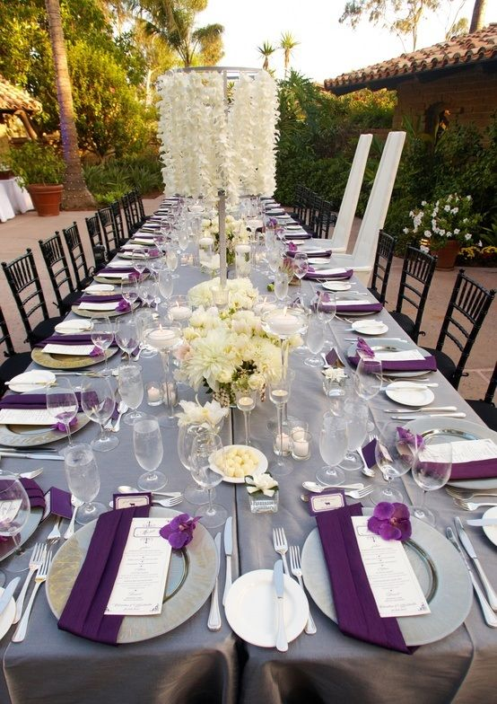 Extravagant Tablescape Of White Purple And Grey