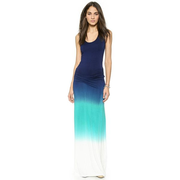 Young Fabulous & Broke Hamptons Maxi Dress (£105) ❤ liked on Polyvore featuring dresses, slimming dresses, blue ruched dress, racerback maxi dress, ombre dress and patterned maxi dress