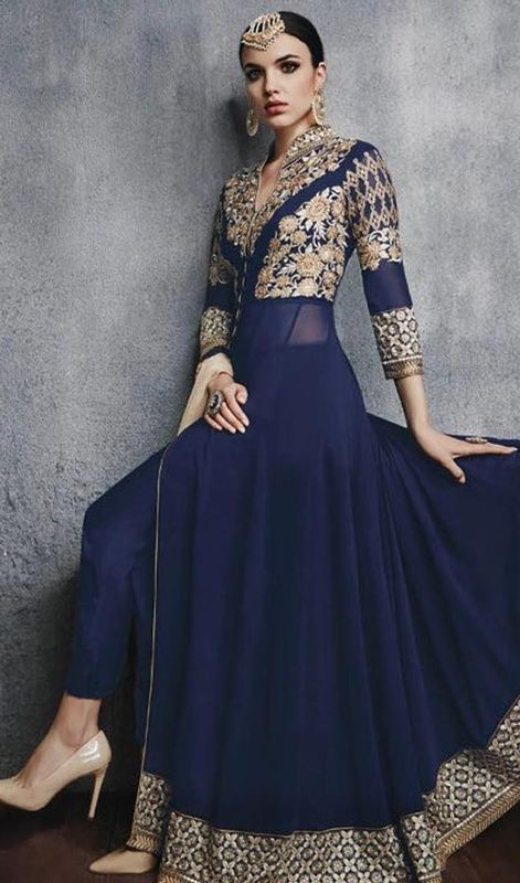Navy Blue Color Georgette Embroidered Anarkali Pant Suit