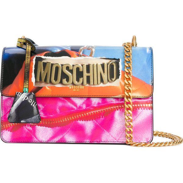 Moschino magazine motif shoulder bag (3,730 SAR) ❤ liked on Polyvore featuring bags, handbags, shoulder bags, multi color handbag, snap purse, multi coloured handbags, shoulder handbags and colorful purses