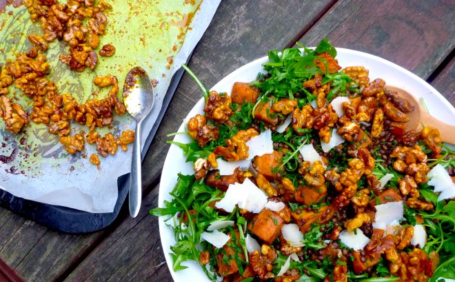 Spiced sweet potato, puy lentils and rocket salad with honey-roasted walnuts – The Back Yard Lemon Tree