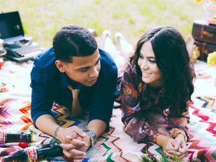 Picnic engagement photo session with vintage Coca cola bottles