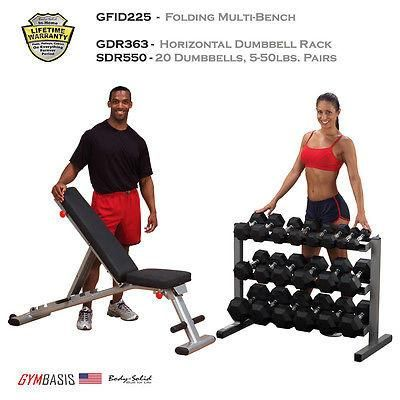 NEW Body-Solid GFID225 Bench, Rubber Dumbbells 5-50lbs., Dumbbell Rack GDR363