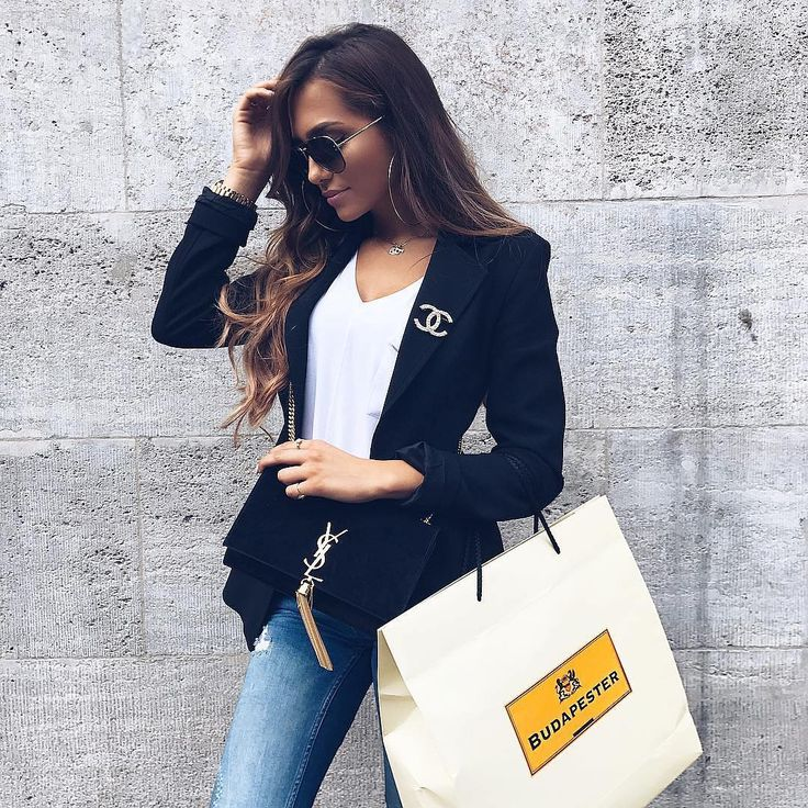 """394 Likes, 1 Comments - Lookastic (@lookastic) on Instagram: """"A white tee & jeans combo dressed up with a black blazer #blazer #chicstyle"""""""