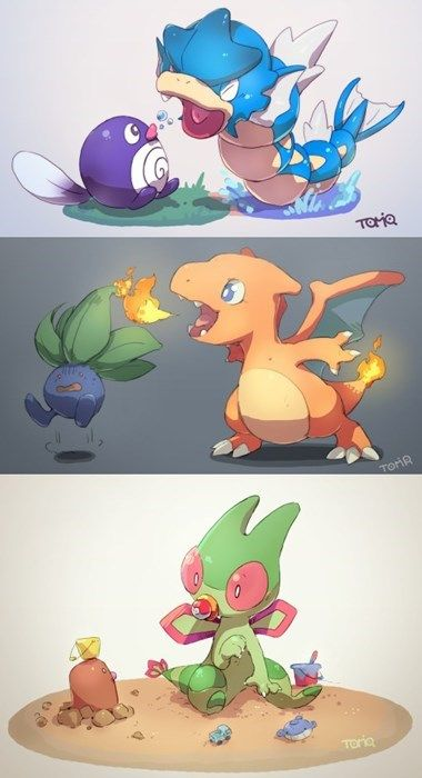 This is cute but in real life these cuties would be Magikarp, Charizard, and Trapich.