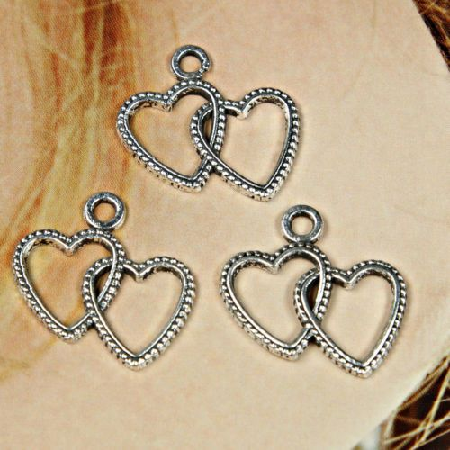 15-x-Silver-tone-Double-Heart-Charms-Tags-Pendants-Jewellery-Making-Crafts-H06
