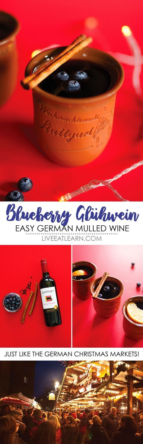 Experience the cozy German Christmas markets without ever leaving the comfort of your home with this Blueberry Gluhwein recipe! With only 5 ingredients, this is a simple alcoholic mulled red wine to warm your bones this winter. And you just need blueberries, cinnamon, and cloves to make this gluten-free, vegan gluehwein! via @liveeatlearn