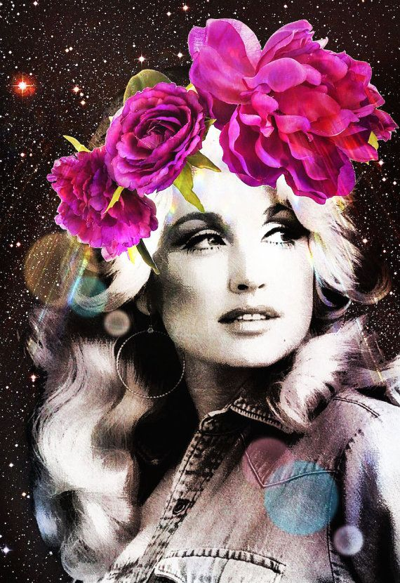 Dolly Parton art print mixed media collage by MyLettersOnTheWall