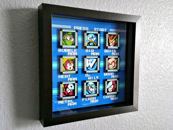 Mega Man 2 Stage Select Shadowbox by Decor8bitArt on Etsy