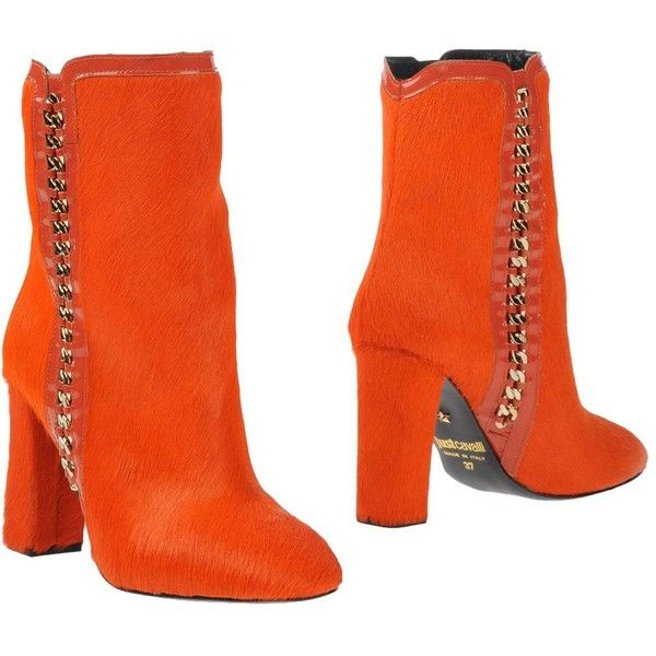 Just Cavalli Ankle Boots (465 CAD) ❤ liked on Polyvore featuring shoes, boots, ankle booties, orange, round toe booties, genuine leather boots, zipper ankle boots, orange boots and zip ankle boots