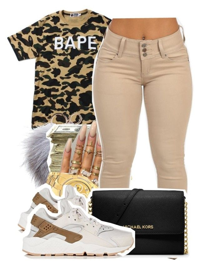 """ hit it from the back, watch a n*gga bless you "" by babygirlnia14 ❤ liked on Polyvore featuring A BATHING APE, Dena, SEN, Invicta, NIKE and MICHAEL Michael Kors"