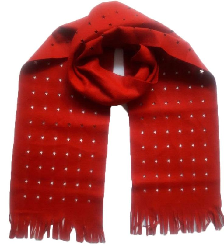 Fashion style thick poly wool Laser cut long Red Scarf with natural fringe for fall, autumn and winter (Red-2). Fashion style long Red Scarf with natural fringe. Material- thick poly wool (wool 50-60% , rest -other fibre). Size 180x22cm, weight 60 gram, light weight & soft. Laser-cut in various design like heart, star, round, Christmas tree, plain & other shapes. Ideal for fall, autumn and winter season, Also ideal for evening wear, party wear & Christmas season.